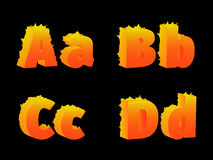 Burning of ABCD letters. Burning of A, B, C, D letters on a black background Stock Image