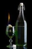 Burning absinthe Arkivbild