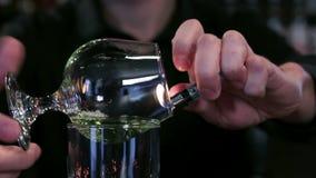 Burning absinthe closeup stock footage