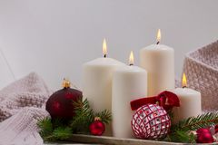 Burning Advent Candles Stock Images