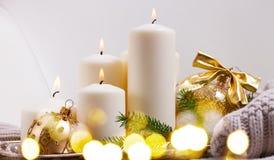 Burning Advent Candles Stock Photo