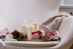 Burning advent candles Royalty Free Stock Photo