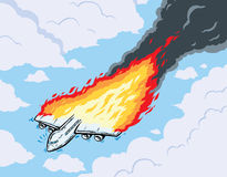 Burning airplane. Airplane in flames, going down Royalty Free Stock Images