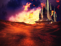 Burning Alien Planet Background. Alien planet with burning sky and building on the horizon Royalty Free Stock Photos