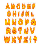 Burning Alphabet. Letters illustration isolated on white background Royalty Free Stock Image