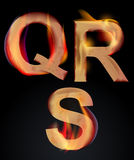 Burning alphabet letters, QRS. Burning QRS letters over dark,alphabet illustration Stock Images