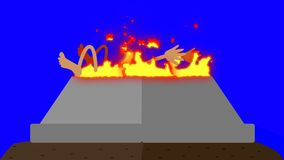 Burning Alter with a Human Sacrifice on a Blue Screen stock video footage