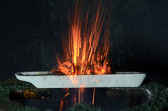 Burning Ammoniumdichromate. Ammonium dichromate burns in a tray with orange sparks, a green powder develops as a combustion product Stock Images