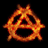 Burning anarchy sign. Fire flame abstract illustration Royalty Free Stock Photo