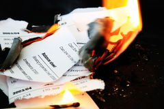 Burning annual report with motion blur Stock Photo