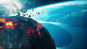 Burning asteroid approaching earth. 3d rendering Stock Image
