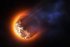 Burning asteroid entering the atmoshere. Close-up of asteroid entering the atmosphere at high speed and starting to burn -3D artwork royalty free illustration