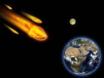 Burning asteroid hitting earth Stock Photography