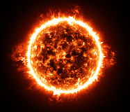 Burning atmosphere of red giant star. Hot heart of the Solar system that supports life on Earth and gives hope to all mankind for a bright future Royalty Free Stock Photography