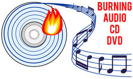 Burning audio CD or DVD concept Stock Photo