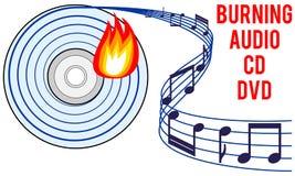 Burning audio CD or DVD concept. Burning audio CD or DVD icon, burning soundtrack concept, recording audio tracks idea, vector illustration with white isolated Stock Photo