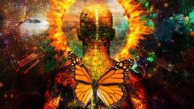 Burning aura. Man with halo