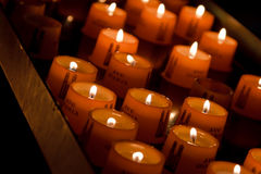 Burning Ave Maria candles Stock Photos
