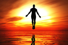 Burning awakening 01. 3D man flying over water on a hot background stock illustration