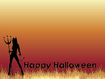 Burning Background 2. Silhouette of SheDevil with Happy Halloween on fire background Royalty Free Stock Images