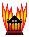 Burning Bank. Abstract illustration on white background Royalty Free Stock Photos