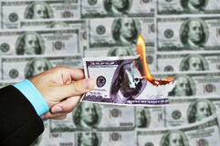 Burning banknotes Royalty Free Stock Images