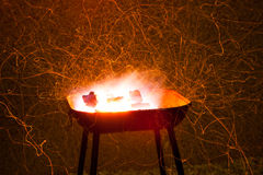 Burning barbecue grill Stock Photo