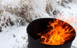 Burning barrel Stock Image