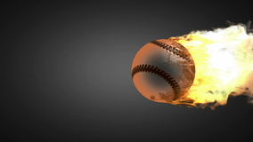 Burning baseball ball. alpha matted