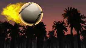Burning baseball ball stock video