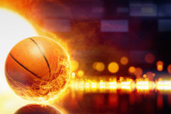 Burning basketball Stock Photos