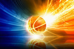 Burning basketball. Abstract sports background - burning basketball with reflection, orange and blue glowing lights Stock Photography