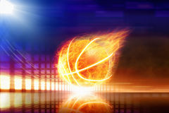 Burning basketball Stock Images