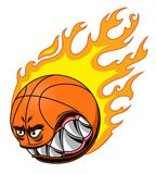 Burning basketball ball. Angry basketball ball in flame isolated on white background Stock Photography