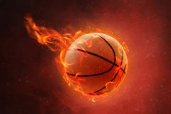 Burning basketball on fire background