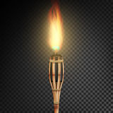 Burning Beach Bamboo Torch With Flame. Realistic Fire. Realistic Fire Torch Isolated On Transparent Background. Vector Illustratio Stock Photo