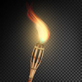 Burning Beach Bamboo Torch With Flame. Realistic Fire. Realistic Fire Torch Isolated On Transparent Background. Vector Illustratio. Burning Beach Bamboo Torch Stock Image