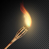 Burning Beach Bamboo Torch With Flame. Realistic Fire. Realistic Fire Torch Isolated On Transparent Background. Vector Illustratio. Burning Beach Bamboo Torch Royalty Free Stock Photo