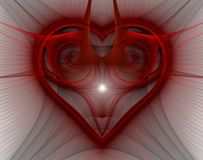 Burning and beating heart. Valentine`s day background. An abstract computer generated modern fractal design on dark background. Abstract fractal color texture Stock Images