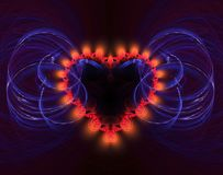Burning and beating heart. Valentine`s day background. An abstract computer generated modern fractal design on dark background. Abstract fractal color texture Stock Image