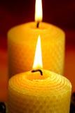Burning bees wax candles Royalty Free Stock Photo