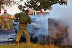burning bil Royaltyfri Bild