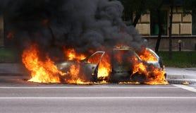 burning bil Royaltyfri Foto