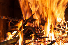 Burning billets in hot stove Royalty Free Stock Photo