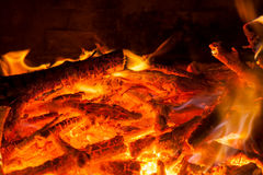 Burning billets in hot stove Stock Photos