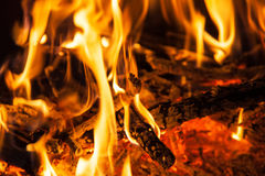 Burning billets in hot stove Royalty Free Stock Photography