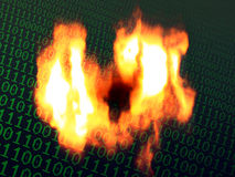 Burning binary background Stock Photos