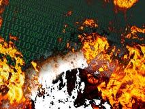 Burning binary background Stock Photography