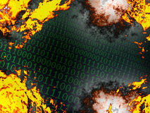 Burning binary background Stock Photo
