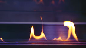 Burning bio fireplace. Close up of flame. stock footage